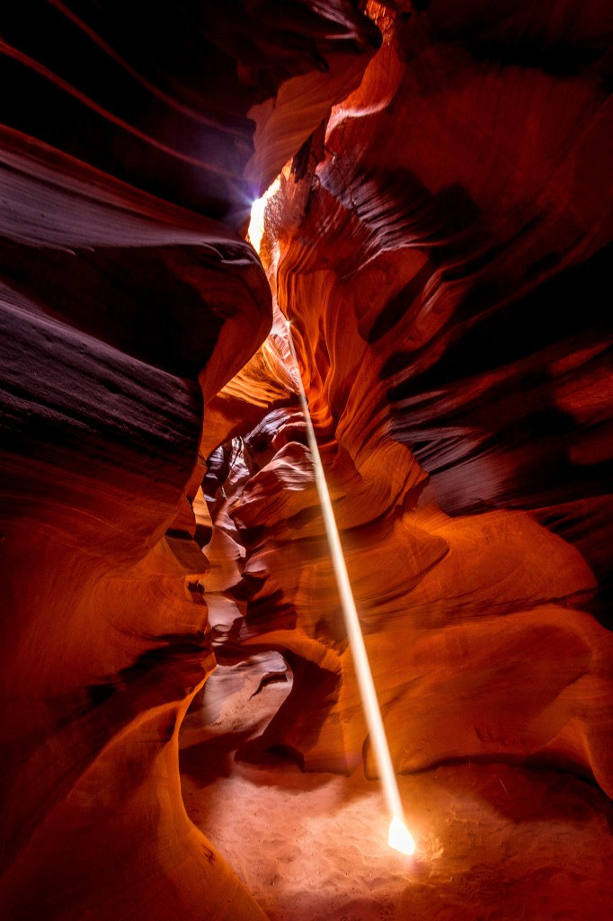 Laser beam of light in Antelope Canyon