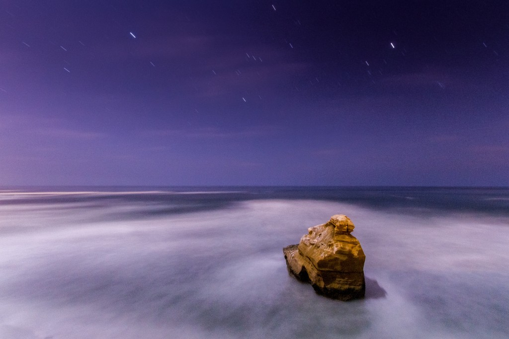 Long exposure of a rock lit by  Moonlight